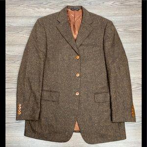 Samuelsohn Brown Donegal Tweed Herringbone Blazer